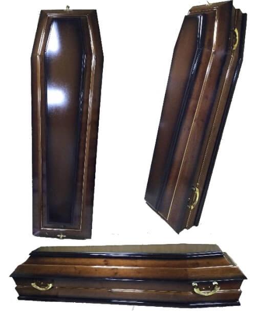 Гроб лакированный, шестигранный